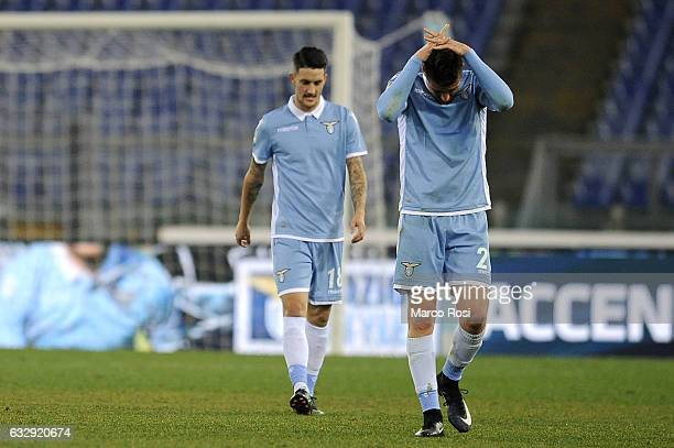 Sergej Milinkovic Savic of SS Lazio reacts during the Serie A match between SS Lazio and AC Chievo Verona at Stadio Olimpico on January 28 2017 in...