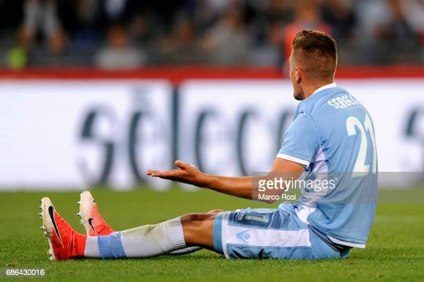 Sergej Milinkovic Savic of SS Lazio reacts during the Serie A match between SS Lazio and FC Internazionale at Stadio Olimpico on May 21 2017 in Rome...