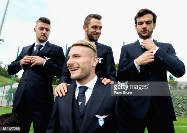 Sergej Milinkovic Stefan De Vrji Marco Parolo Ciro Immobile of SS Lazio react during the official team photo on September 26 2017 in Rome Italy