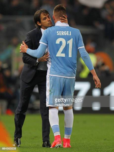 Sergej Milinkovic with his head coach Simone Inzaghi of SS Lazio celebrates after scoring the opening goal during the TIM Cup match between AS Roma...
