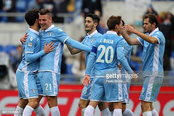 Sergej Milinkovic with his teammates of SS Lazio celebrates after scoring the team's first goal during the Serie A match between SS Lazio and...