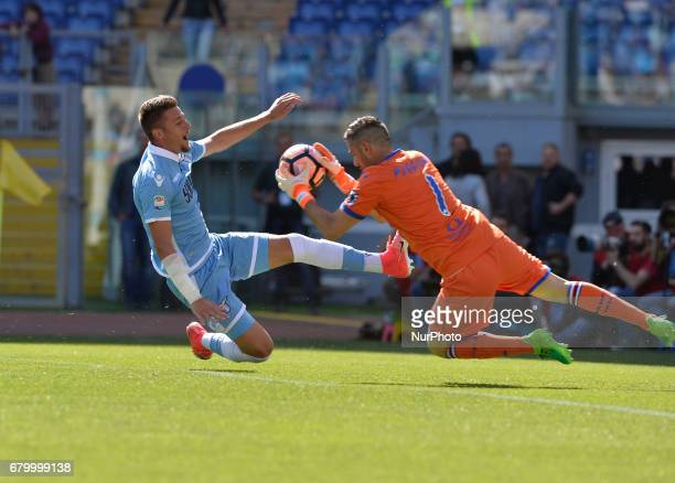 Sergej MilinkovicSavic during the Italian Serie A football match between SS Lazio and US Sampdoria at the Olympic Stadium in Rome on may 7 2017