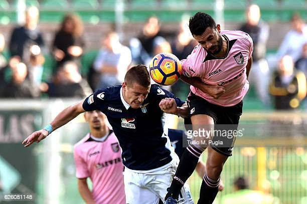 Sergej MilinkovicSavic of Lazio and Giancarlo Gonzalez of Palermo compete for the ball during the Serie A match betweenUS Citta di Palermo and SS...