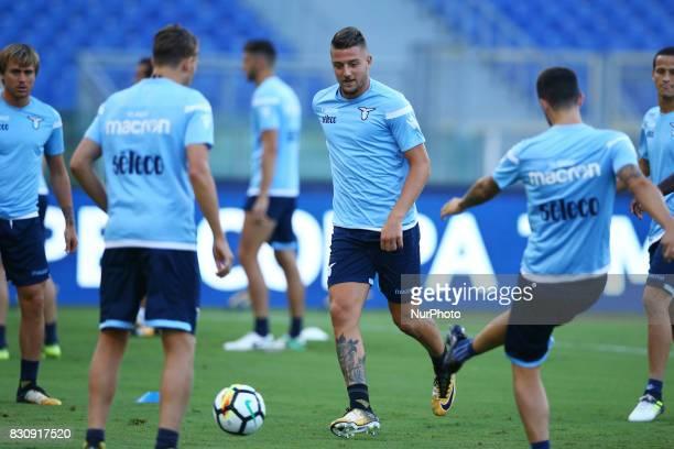 Sergej MilinkovicSavic of Lazio at Olimpico Stadium in Rome Italy on August 12 2017 during training session for TIM Super Cup 2017