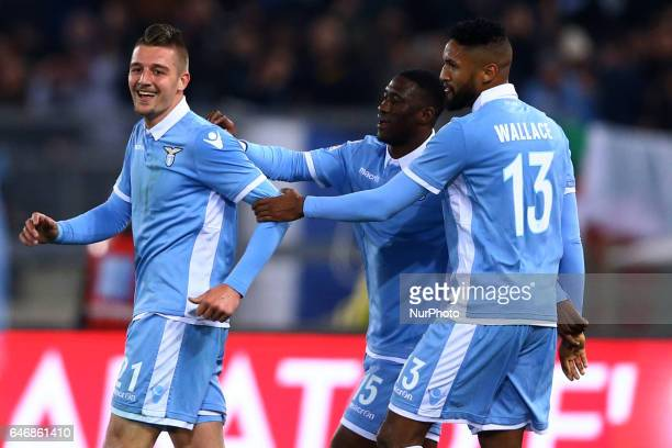 Sergej MilinkovicSavic of Lazio celebration with Bastos and Walace during the Italian TIM Cup 1st leg semifinal football match on March 1 2017 at the...