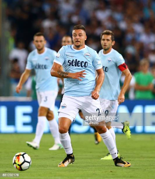 Sergej MilinkovicSavic of Lazio during the Italian Supercup match between Juventus and SS Lazio at Stadio Olimpico on August 13 2017 in Rome Italy
