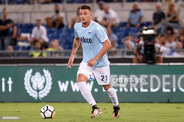 Sergej MilinkovicSavic of Lazio during the Serie A match between Lazio and Spal at Stadio Olimpico Rome Italy on 20 August 2017