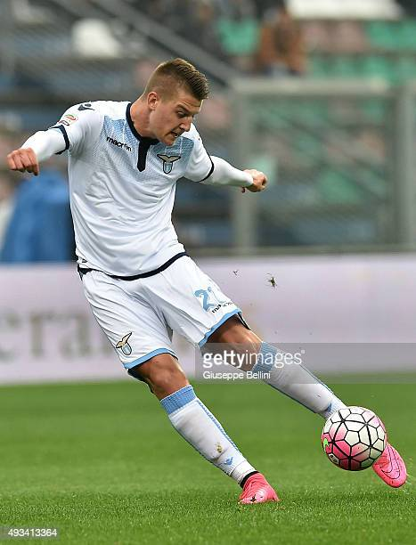 Sergej MilinkovicSavic of Lazio in action during the Serie A match between US Sassuolo Calcio and SS Lazio at Mapei Stadium Citta del Tricolore on...