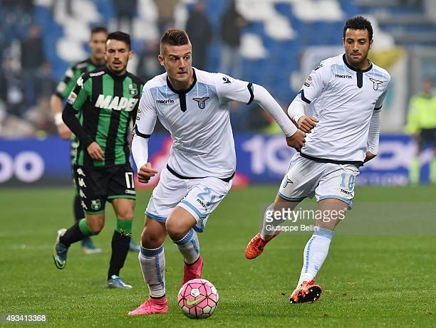 Sergej MilinkovicSavic of Lazio in action during the Serie A match between US Sassuolo Calcio and SS Lazio at Mapei Stadium Citta del Tricolore on...