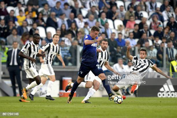 Sergej MilinkovicSavic of Lazio in action during the Serie A match between Juventus and SS Lazio on October 14 2017 in Turin Italy
