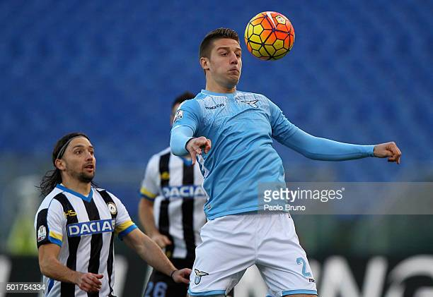 Sergej MilinkovicSavic of SS Lazio competes for the ball with Manuel Iturra of Udinese Calcio during the TIM Cup match between SS Lazio and Udinese...