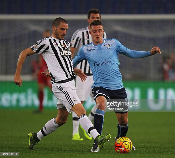 Sergej MilinkovicSavic of SS Lazio competes for the ball with Leonardo Bonucci of Juventus FC during the Serie A match between SS Lazio and Juventus...