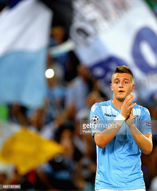 Sergej MilinkovicSavic of SS Lazio greets the fans after the UEFA Champions League qualifying round play off first leg match between SS Lazio and...