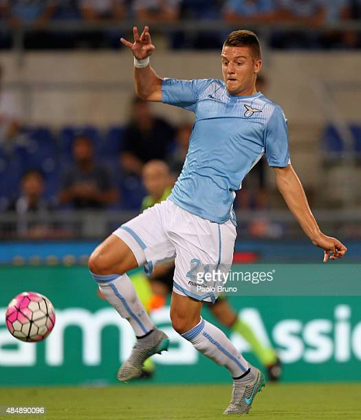 Sergej MilinkovicSavic of SS Lazio in action during the Serie A match between SS Lazio and Bologna FC at Stadio Olimpico on August 22 2015 in Rome...