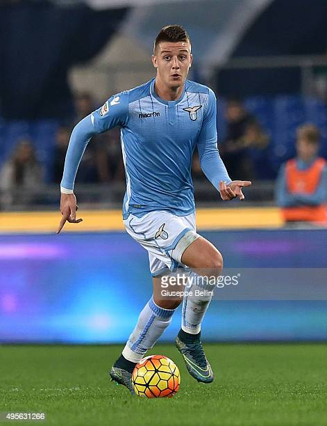 Sergej MilinkovicSavic of SS Lazio in action during the Serie A match between SS Lazio and AC Milan at Stadio Olimpico on November 1 2015 in Rome...