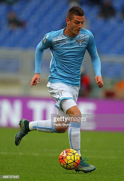 Sergej MilinkovicSavic of SS Lazio in action during the Serie A match between SS Lazio and US Citta di Palermo at Stadio Olimpico on November 22 2015...