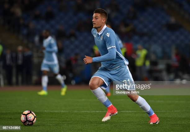 Sergej MilinkovicSavic of SS Lazio in action during the Serie A match between SS Lazio and SSC Napoli at Stadio Olimpico on April 9 2017 in Rome Italy