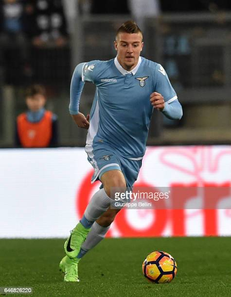 Sergej MilinkovicSavic of SS Lazio in action during the TIM Cup match between SS Lazio and AS Roma at Olimpico Stadium on March 1 2017 in Rome Italy