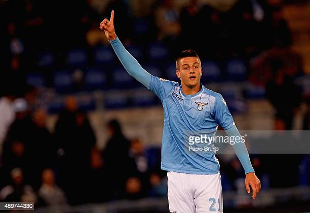 Sergej MilinkovicSavic of SS Lazio reacts during the Serie A match between SS Lazio and Genoa CFC at Stadio Olimpico on September 23 2015 in Rome...