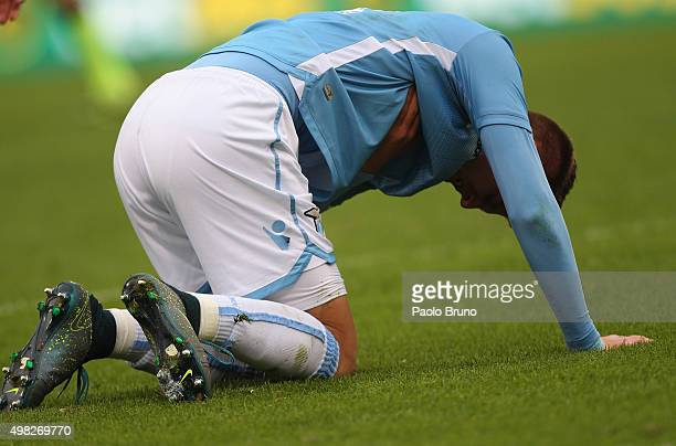 Sergej MilinkovicSavis of SS Lazio is injured during the Serie A match between SS Lazio and US Citta di Palermo at Stadio Olimpico on November 22...