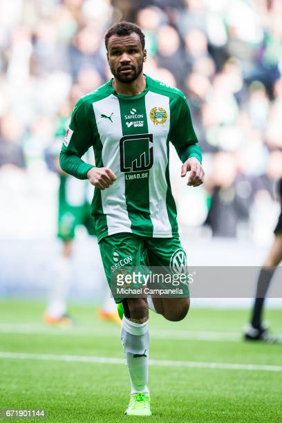 SergeJunio Martinsson Ngouali of Hammarby IF during an Allsvenskan match between Hammarby IF and GIF Sundsvall at Tele2 Arena on April 23 2017 in...