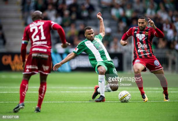 SergeJunior Martinsson Ngouali of Hammarby IF and Saman Ghoddos of Ostersunds FK during the Allsvenskan match between Hammarby IF and Ostersunds FK...