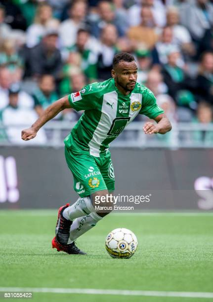 SergeJunior Martinsson Ngouali of Hammarby IF during the Allsvenskan match between Hammarby IF and Ostersunds FK at Tele2 Arena on August 14 2017 in...