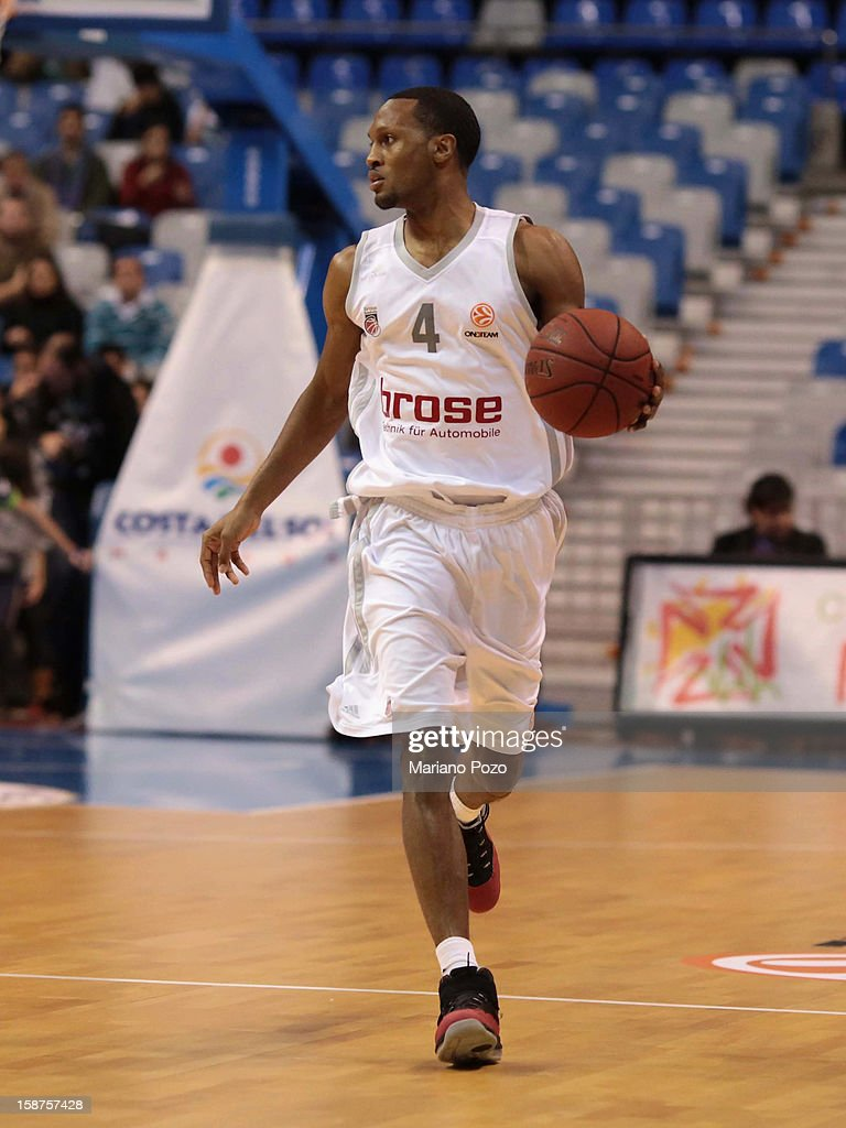 Sergerio Gipson, #4 of Brose Baskets Bamberg in action during the 2012-2013 Turkish Airlines Euroleague Top 16 Date 1 between Unicaja Malaga v Brose Baskets Bamberg at Palacio Deportes Martin Carpena on December 27, 2012 in Malaga, Spain.