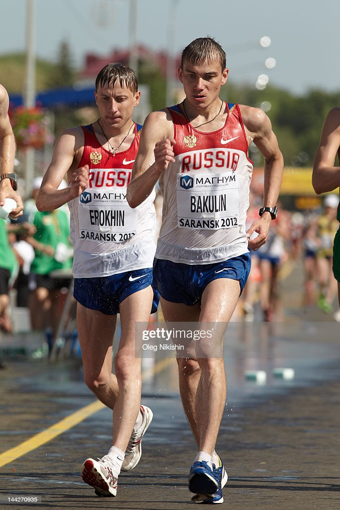 Sergey Bakulin and Igor Erokhin of Russia in action during the competition of men's 50 km IAAF World Race Walking Cup 2012 on May 13, 2012 in Saransk, Russia.
