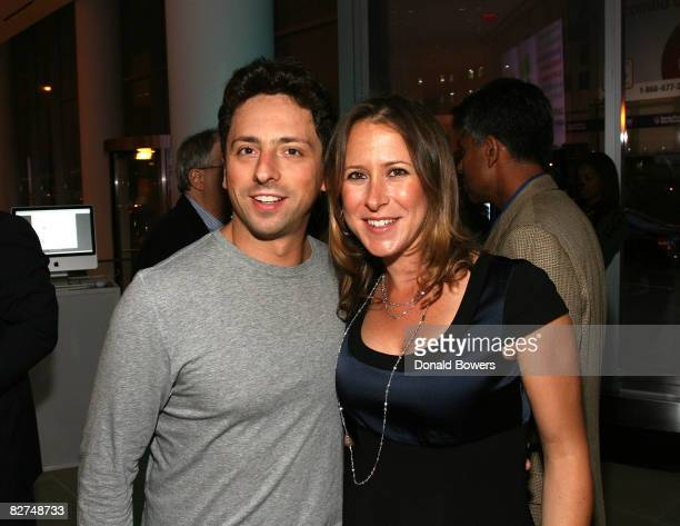 Sergey Brin and his wife Anne Wojcicki attend the 23 and Me Spit party at the IAC Building on September 9 2008 in New York City
