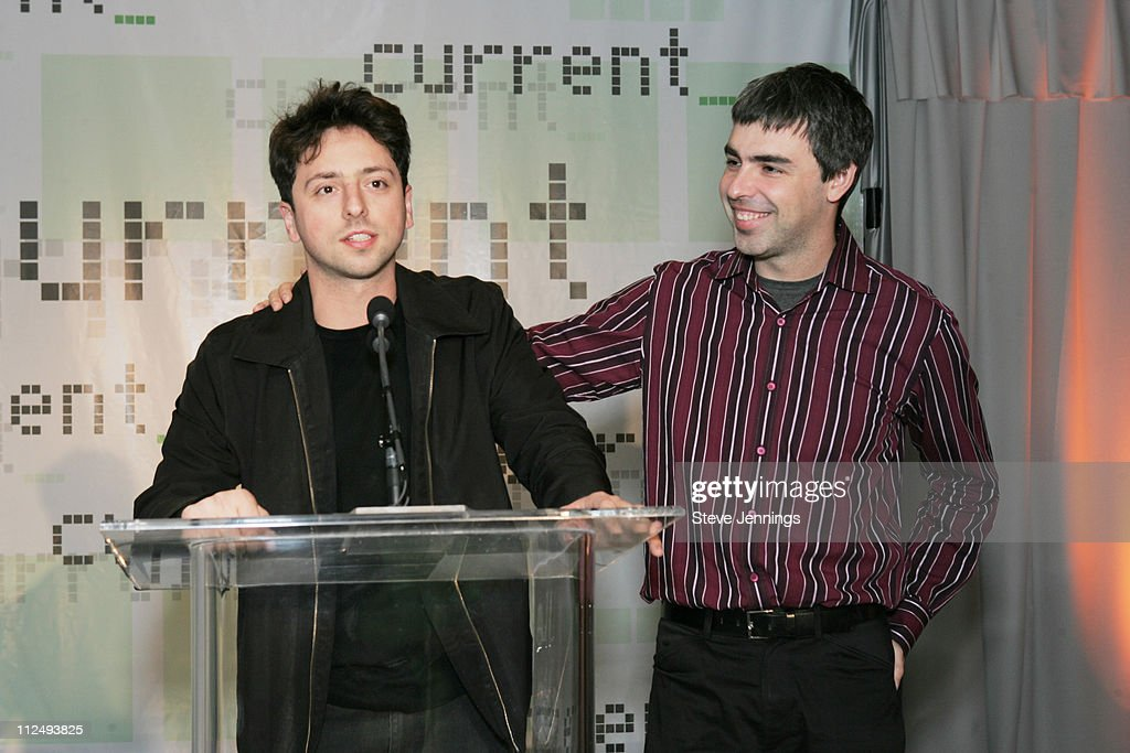 <a gi-track='captionPersonalityLinkClicked' href=/galleries/search?phrase=Sergey+Brin&family=editorial&specificpeople=753551 ng-click='$event.stopPropagation()'>Sergey Brin</a> and <a gi-track='captionPersonalityLinkClicked' href=/galleries/search?phrase=Larry+Page&family=editorial&specificpeople=753550 ng-click='$event.stopPropagation()'>Larry Page</a>, co-founders of Google during Current TV Launch Party and Rally with Al Gore and Joel Hyatt at INdTV Headquarters San Francisco in San Francisco, California, United States.