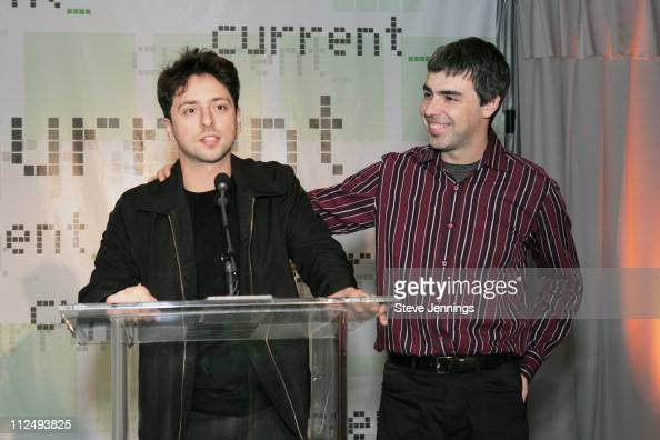 Sergey Brin and Larry Page cofounders of Google during Current TV Launch Party and Rally with Al Gore and Joel Hyatt at INdTV Headquarters San...