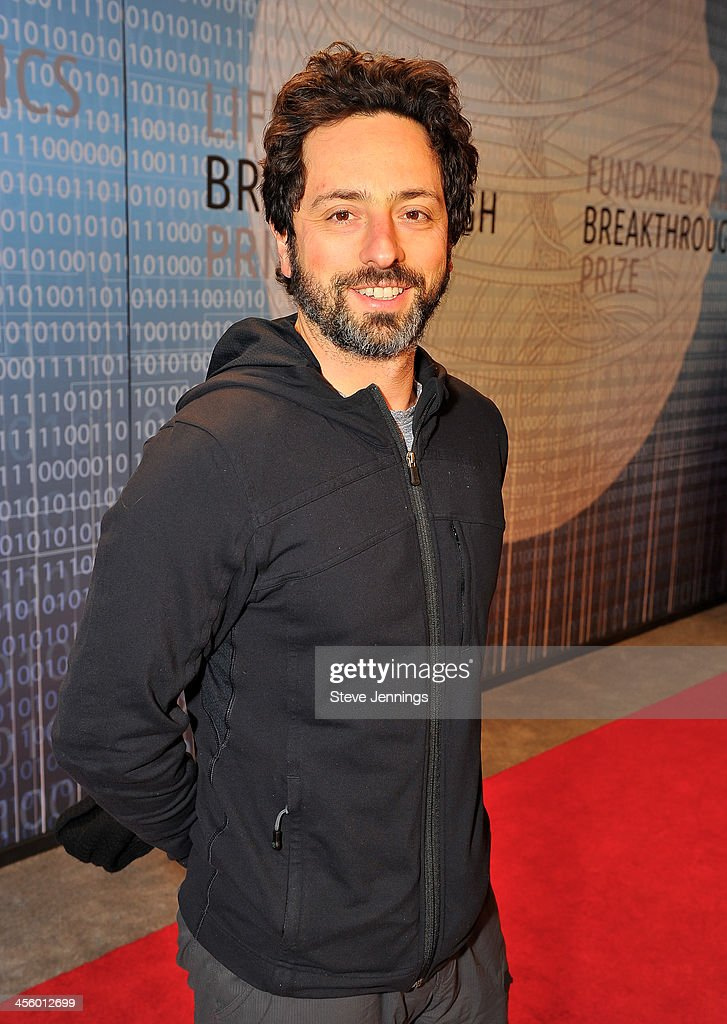 <a gi-track='captionPersonalityLinkClicked' href=/galleries/search?phrase=Sergey+Brin&family=editorial&specificpeople=753551 ng-click='$event.stopPropagation()'>Sergey Brin</a> attends the 2014 Breakthrough Prize Inaugural Ceremony for Awards in Fundamental Physics and Life Sciences at NASA Ames Research Center on December 12, 2013 in Mountain View, California.