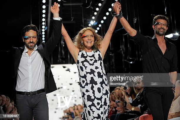 Sergey Brin cofounder of Google Inc from left designers Diane Von Furstenberg and Yvan Mispelaere walk the runway while wearing Project Glass...
