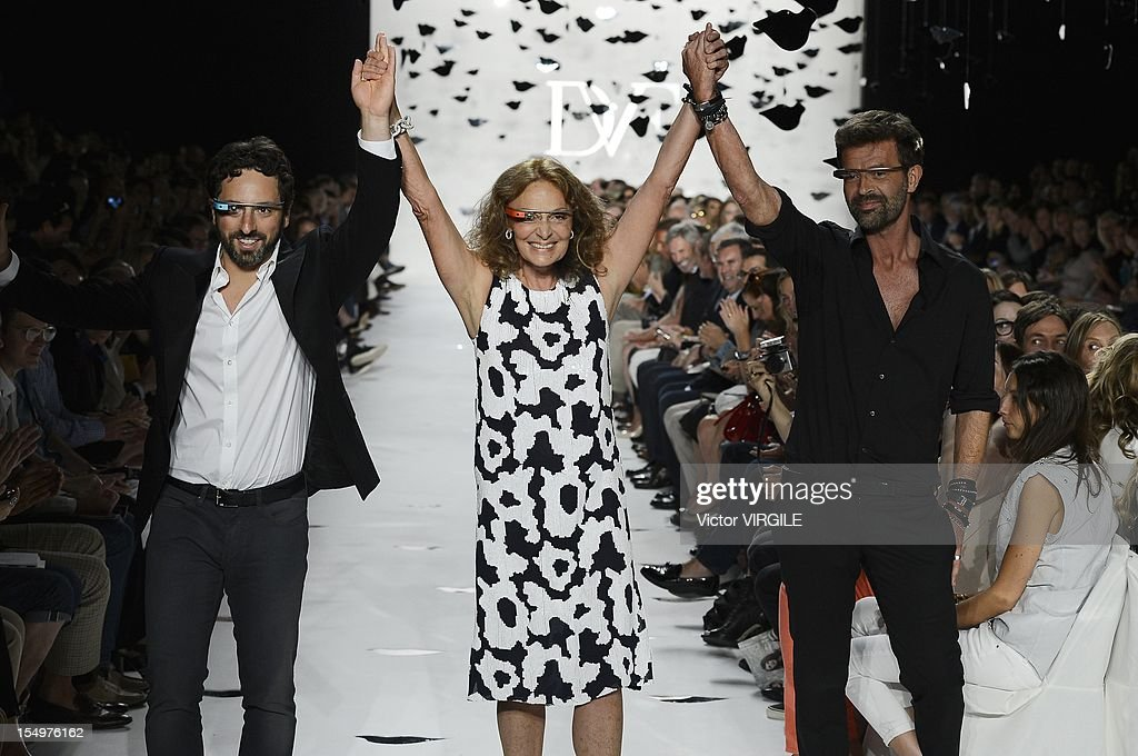 Sergey Brin, co-founder of Google Inc, from left, designers Diane Von Furstenberg and Yvan Mispelaere walk the runway at the Diane Von Furstenberg Spring 2013 fashion show during Mercedes-Benz Fashion Week at The Theatre at Lincoln Center on September 9, 2012 in New York City.