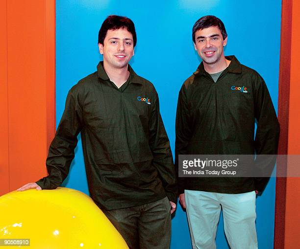 Sergey Brin with Larry Page Co President Google at office in Bangalore india