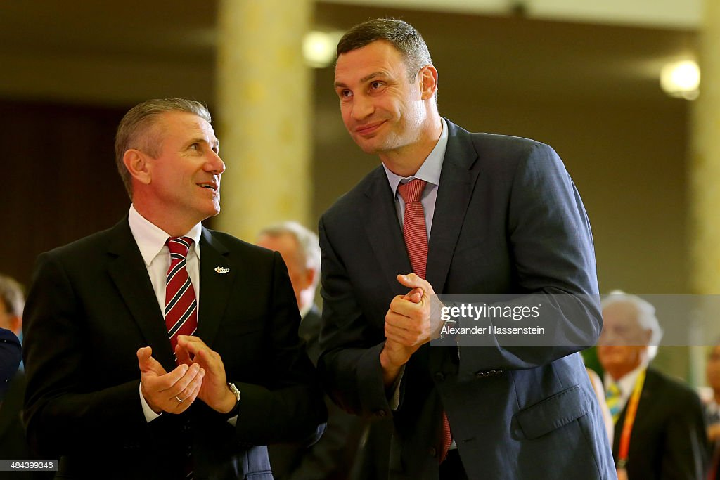 Sergey Bubka attends with Vitali Klitschko the IAAF Congress Opening Ceremony at the Great Hall of the People at Tiananmen Square on August 18, 2015 in Beijing, China.