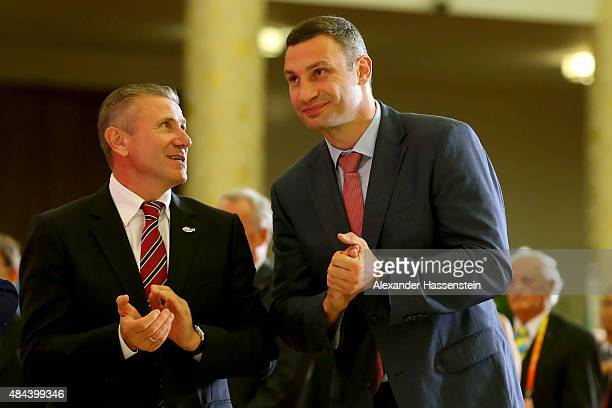 Sergey Bubka attends with Vitali Klitschko the IAAF Congress Opening Ceremony at the Great Hall of the People at Tiananmen Square on August 18 2015...