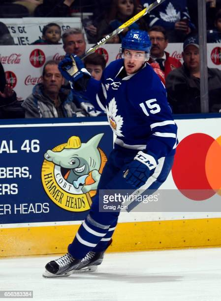 Sergey Kalinin of the Toronto Marlies turns up ice against the Binghamton Senators on March 18 2017 at Air Canada Centre in Toronto Ontario Canada