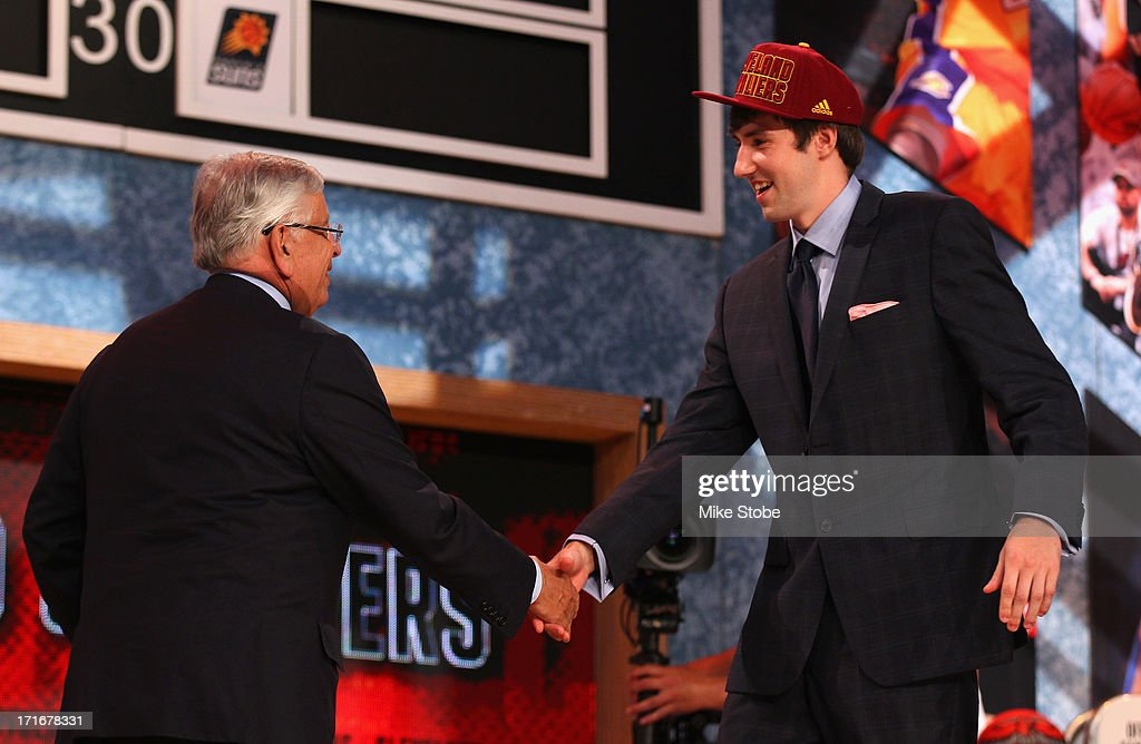 Sergey Karasev (R) of Russia greets NBA Commissioner David Stern after Karasev was drafted #19 overall in the first round by the Cleveland Cavaliers during the 2013 NBA Draft at Barclays Center on June 27, 2013 in in the Brooklyn Bourough of New York City.