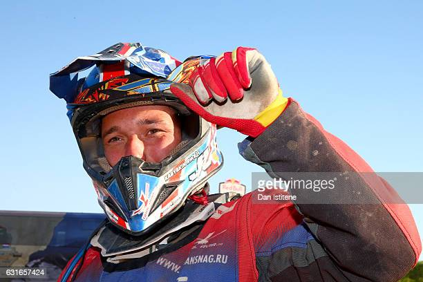 Sergey Karyakin of Russia and Yamaha Fores Dakar celebrates victory at the finish of stage twelve of the 2017 Dakar Rally on January 14 2017 in Rio...
