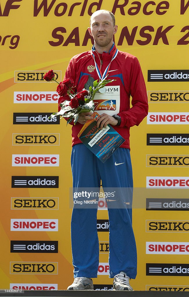 Sergey Kirdyapkin of Russia poses for photo during awarding in the competition of men's 50 km IAAF World Race Walking Cup 2012 on May 13, 2012 in Saransk, Russia.
