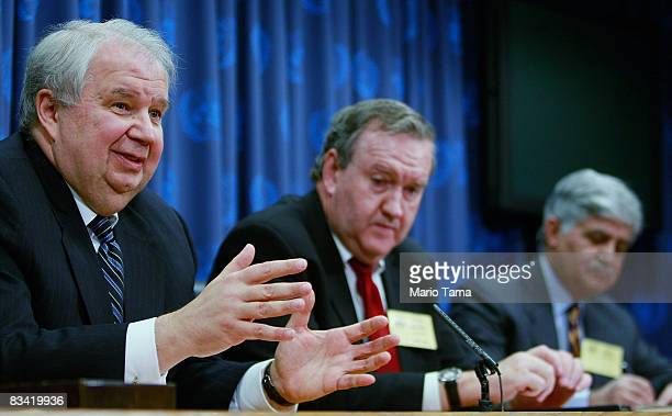 Sergey Kislyak Russian Ambassador to the United States speaks as John Mroz President of the EastWest Institute and Ved Malik Former Chief of Army...