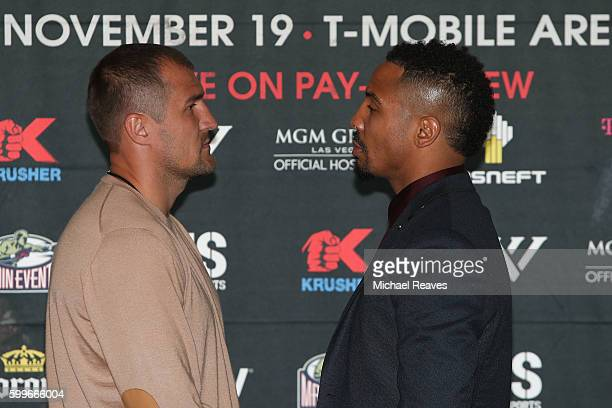 Sergey Kovalev and Andre Ward face off during the press conference for the Kovalev v Ward 'Pound for Pound' bout at Le Parker Meridien on September 6...