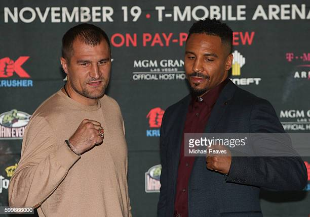 Sergey Kovalev and Andre Ward square up during the press conference for the Kovalev v Ward 'Pound for Pound' bout at Le Parker Meridien on September...