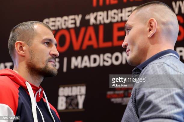 Sergey Kovalev and Vyacheslav Shabranskyy stare each other down during a press conference at the Renaissance New York Midtown on September 21 2017 in...
