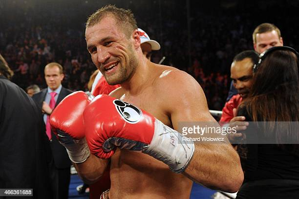 Sergey Kovalev celebrates after defeating Jean Pascal during their Unified light heavyweight championship bout at the Bell Centre on March 14 2015 in...