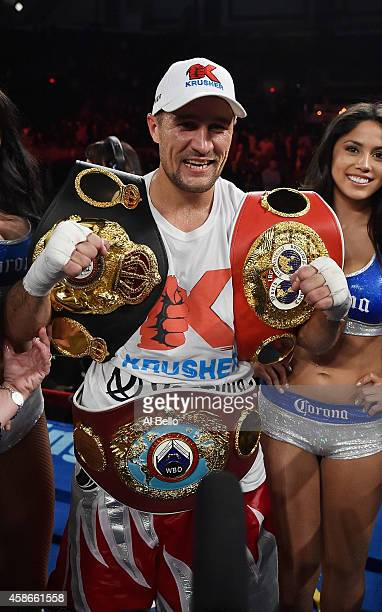 Sergey Kovalev celebrates his unanimous decision win against Bernard Hopkins after their IBF WBA WBO Light Heavyweight title fight at Boardwalk Hall...