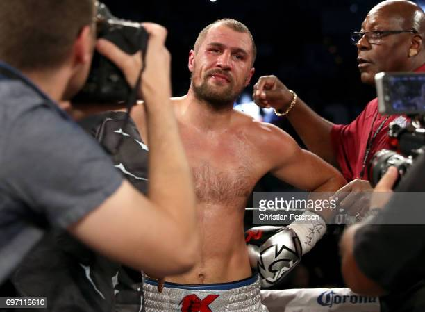Sergey Kovalev looks on after his light heavyweight championship bout against Andre Ward at the Mandalay Bay Events Center on June 17 2017 in Las...