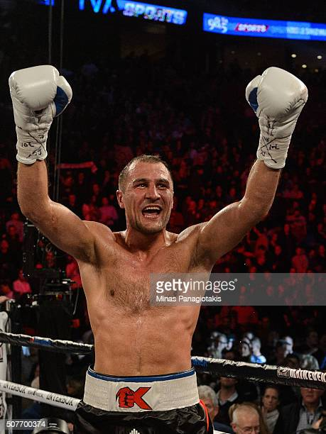 Sergey Kovalev of Russia celebrates his victory over Jean Pascal of Canada by way of TKO during the WBO WBA and IBF light heavyweight world...